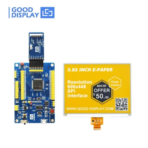 5.83 inch three-color yellow e-paper display e-ink screen with development board
