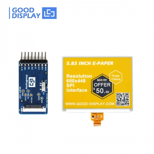 5.83 inch 3-color three colors yellow e-paper display eink screen module GDEW0583C64 with connection board